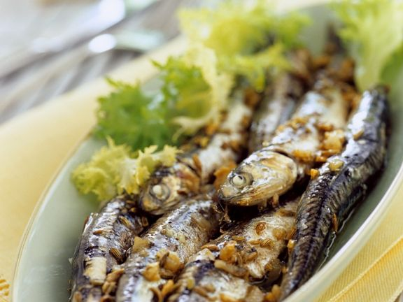 Anchovies with Garlic-fennel Oil