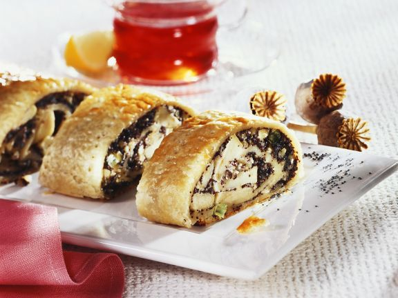Apple and Poppy Seed Puff Pastry Strudel