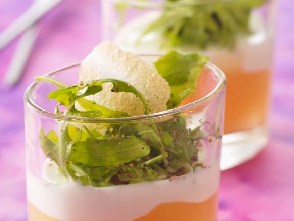 Apple Compote with Goat Cheese Cream and Arugula