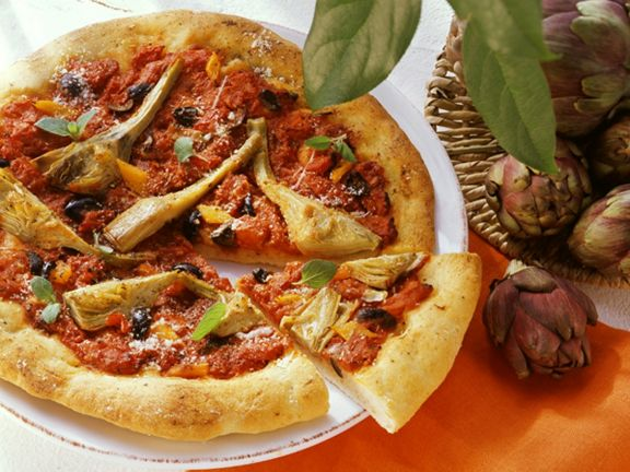 Artichoke and Bell Pepper Pizza