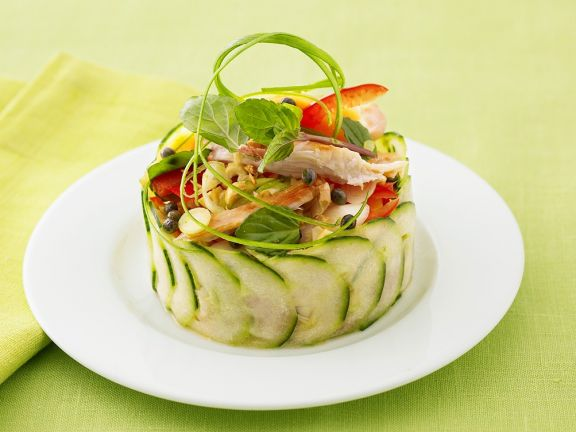 Asian Chicken Salad with Papaya in a Cucumber Ring