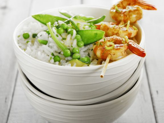Asian Prawn Skewers with Rice