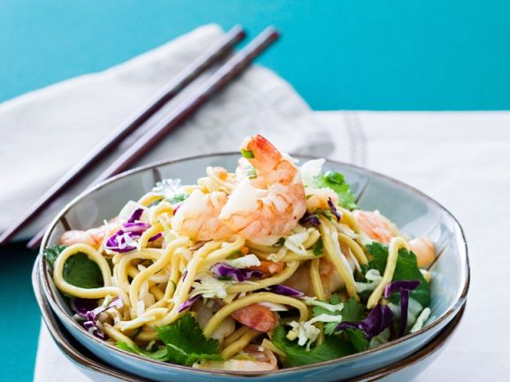 Asian Shrimp Noodle Bowl with Mixed Cabbage