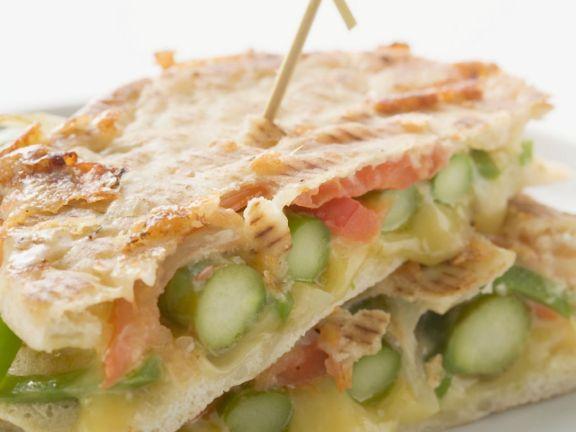 Asparagus and Cheese Pita Bread Stacks
