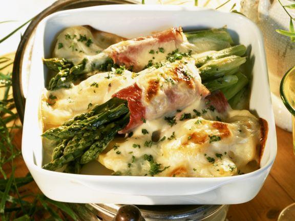 Asparagus-potato Gratin with Ham