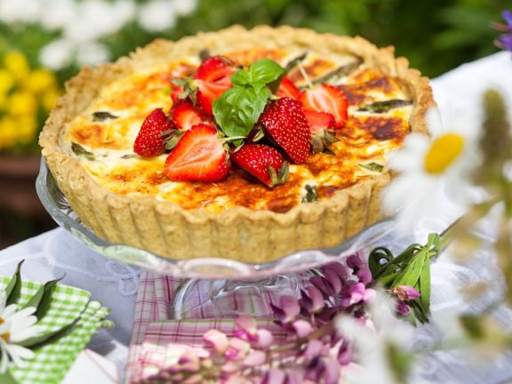 Asparagus Quiche with Strawberries