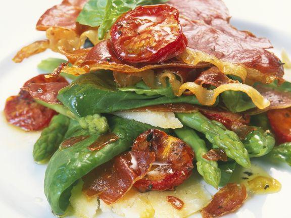 Asparagus Salad with Spinach and Serrano Ham