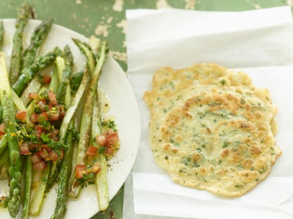 Asparagus with Orange Vinaigrette and Pancakes