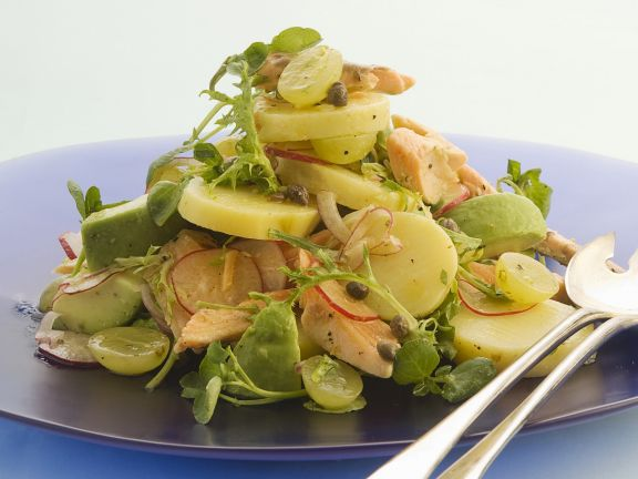 Autumnal Potato Salad with Grapes and Trout
