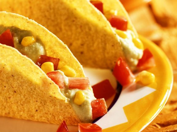 Avocado and Cream Cheese Filled Taco Shells