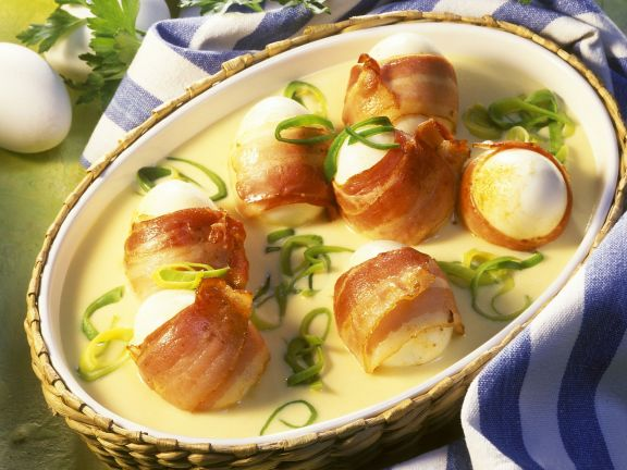 Bacon-Wrapped Hard-Boiled Eggs with Mustard Sauce