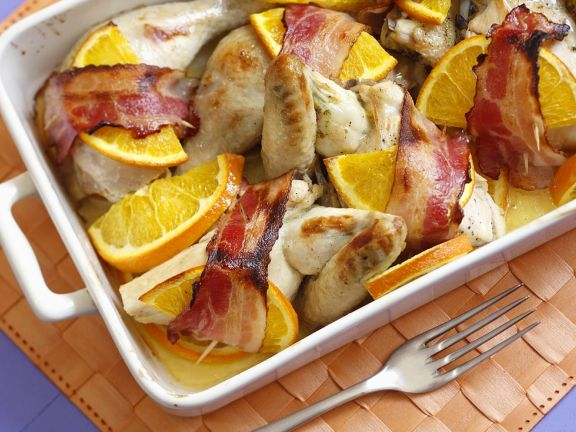 Bacon-Wrapped Orange Chicken