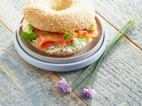 Bagel Filled with Salmon and Cream Cheese