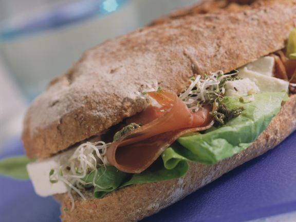 Baguette with Pesto, Cured Ham and Sprouts