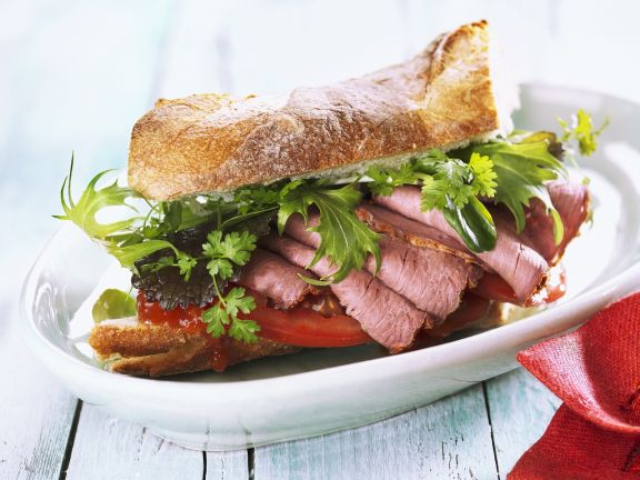 Sliced Beef and Tomato Preserve Sandwich
