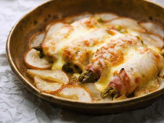 Baked Asparagus and Ham Roll-Ups with Potatoes