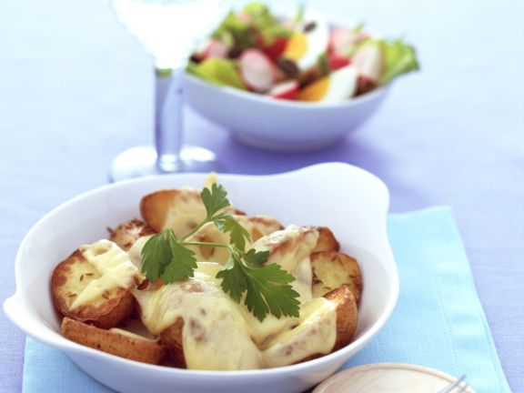 Baked Caraway Potatoes with Radishes and Egg Salad