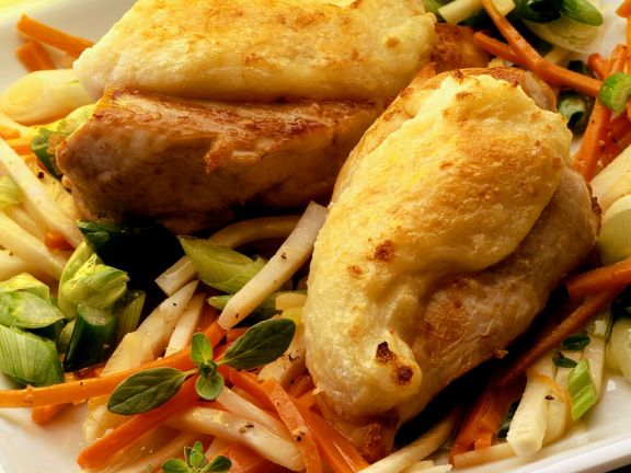 Baked Chicken Breasts on Vegetables