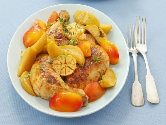 Baked Chicken Thighs with Nectarines, Apples and Garlic