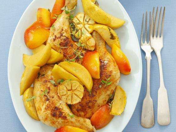 Baked Chicken with Nectarines and Apples