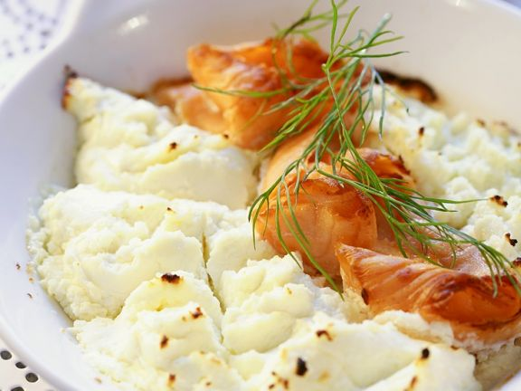 Baked Cottage Cheese and Horseradish Casserole with Smoked Salmon