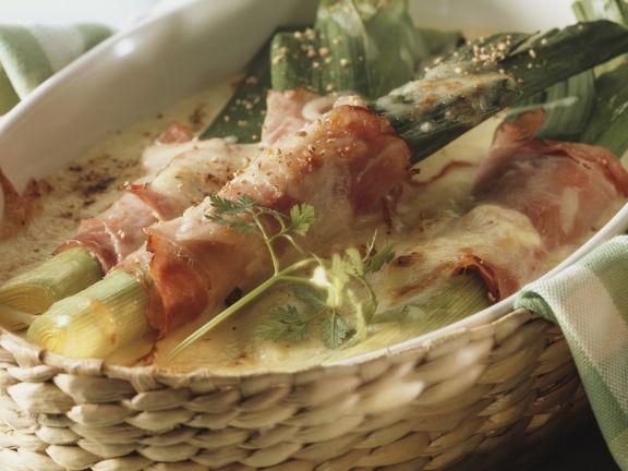 Pork-wrapped leeks