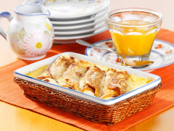 Baked Pancake Rolls with Quark and Apricot Sauce