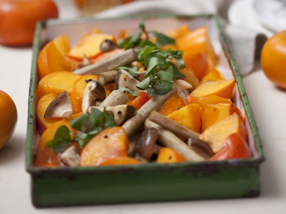 Baked Persimmon with Mushrooms and Salsify