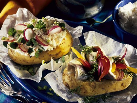 Baked Potatoes with Cottage Cheese and Herring