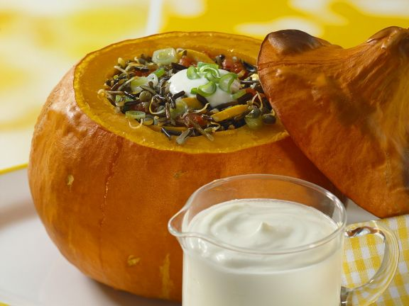 Baked Pumpkin with Vegetable Wild Rice Stuffing