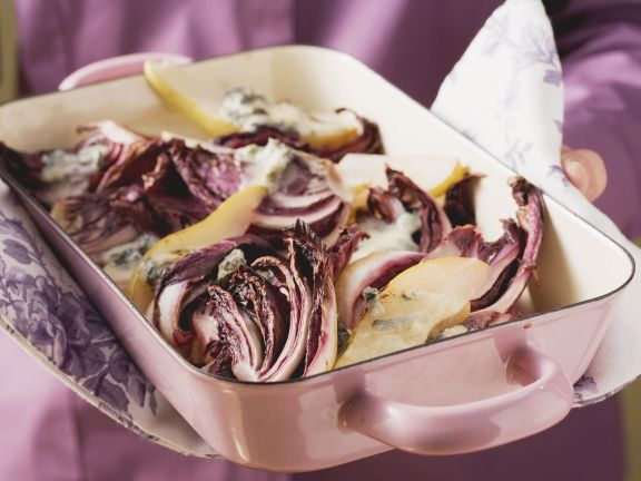 Baked Radicchio with Bleu Cheese and Pears