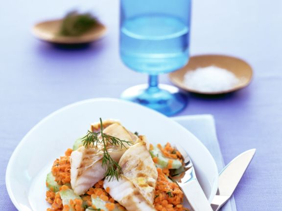 Baked Redfish with Red Lentils