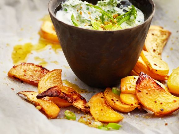 Baked Rutabagas with Creamy Spinach Dip