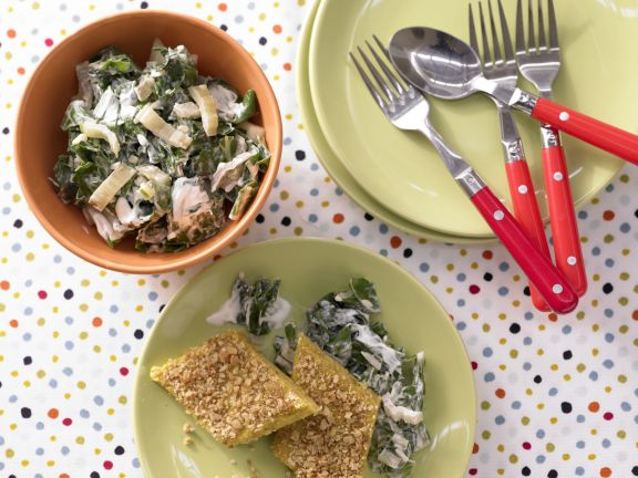 Baked Semolina with Creamed Chard