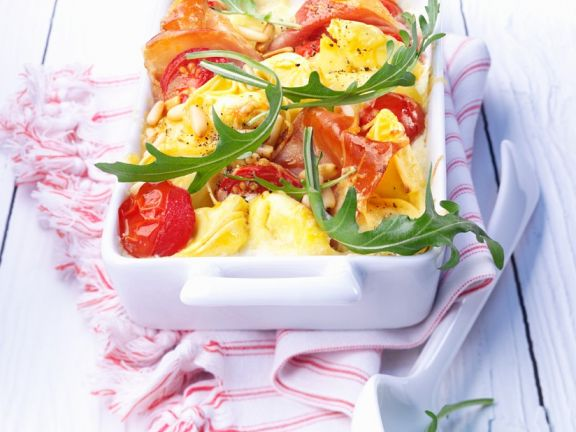 Baked Tortellini with Tomatoes and Ham