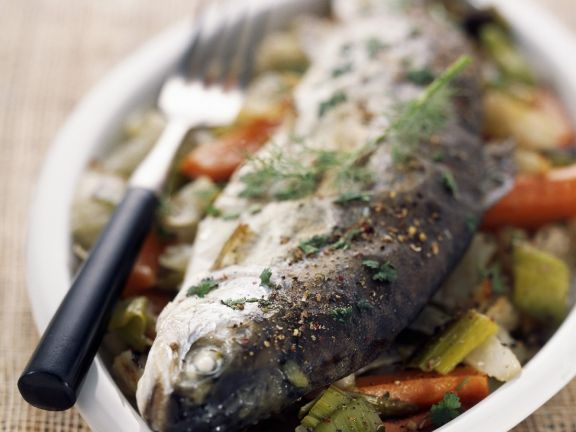 Baked Trout with Med Veg
