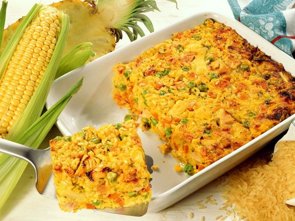 Baked Vegetable Rice with Cheese