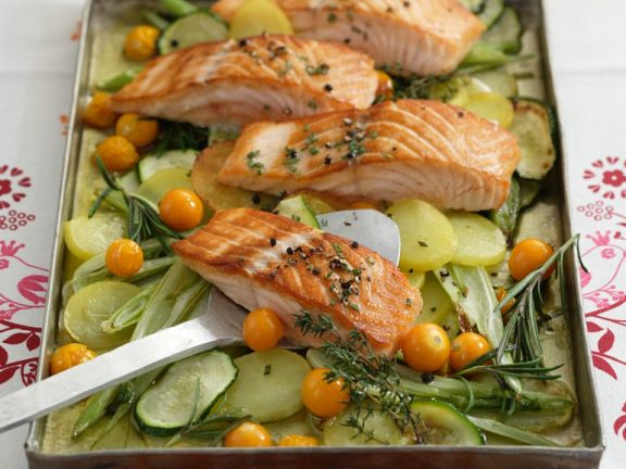 Baked Vegetables with Salmon
