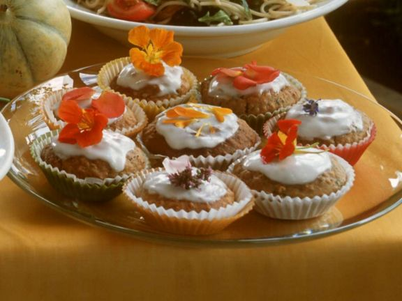Banana Muffins with Flowers