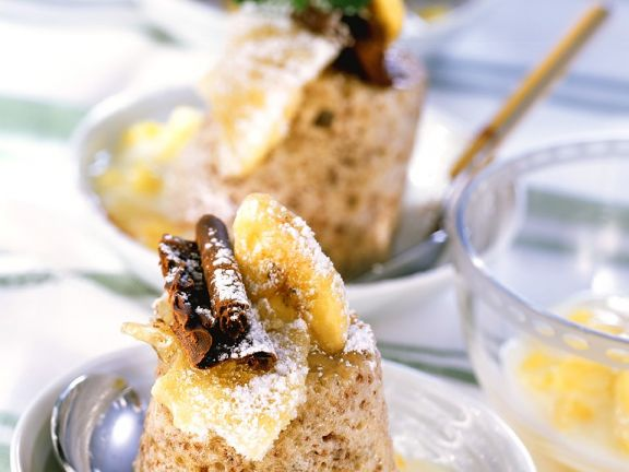 Banana Soufflés with Pineapple Compote