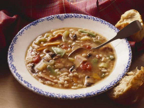 Barley Grain Vegetable and Turkey Soup