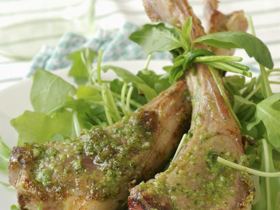 Basil Chops with Rocket Salad