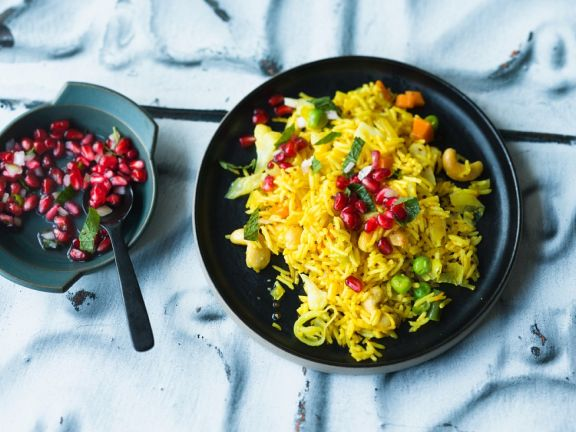 Basmati Rice with Turmeric and Pomegranate