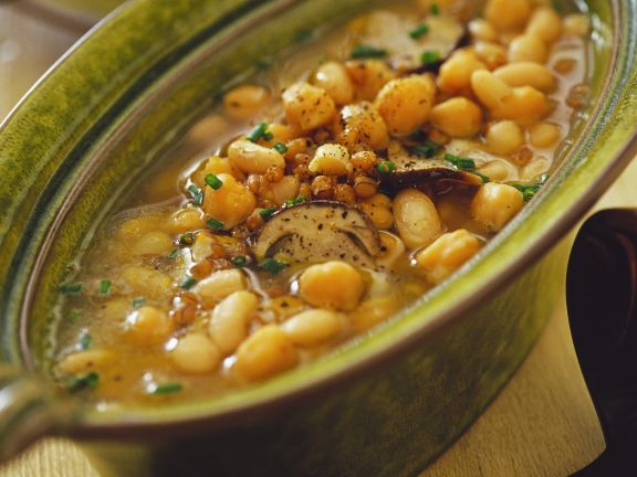 Bean Chickpea Soup with Barley and Mushrooms