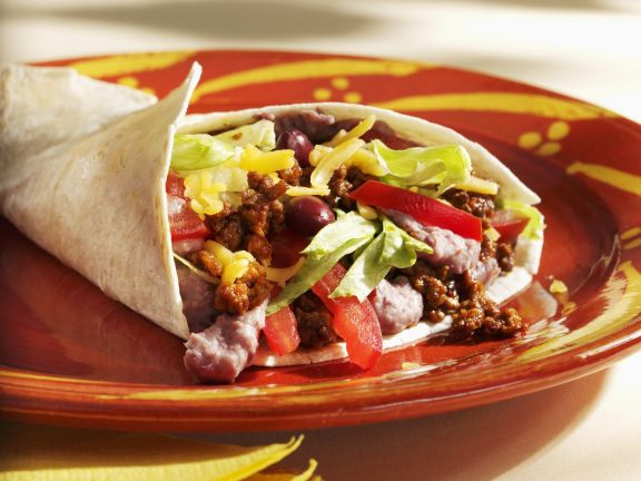 Beef and Bean Filled Tortillas