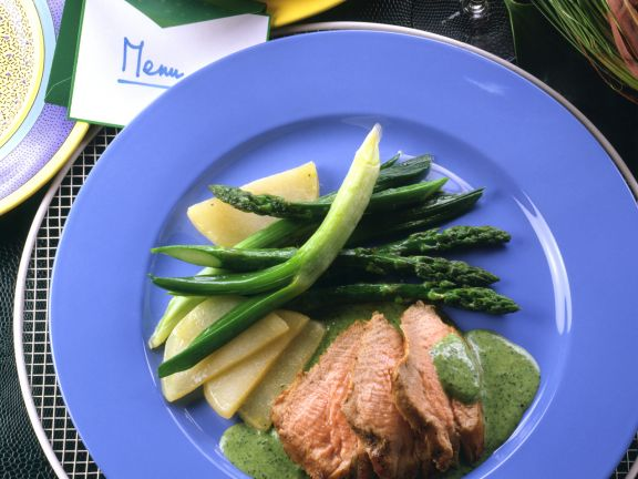 Beef Fillet with Herb Sauce and Green Asparagus