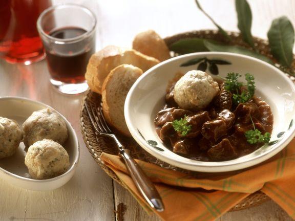 Beef Goulash with Bread Dumplings