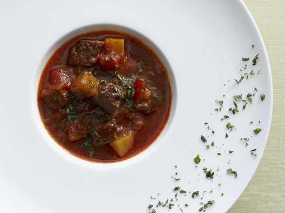 Beef Goulash with Peppers and Potatoes