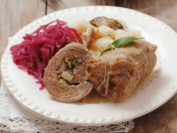 Beef Roulade with Cabbage and Dumplings