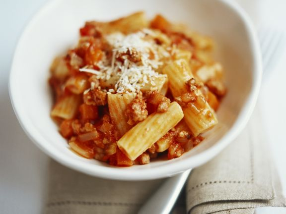 Beef Sauce Rigatoni with Parmesan